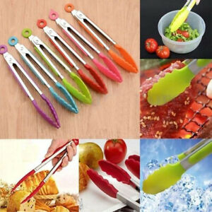 Stainless Steel Silicone Kitchen Tools Food Tongs BBQ Salad Clip Gadget Charm