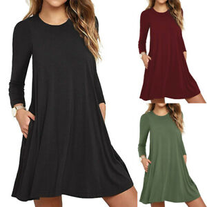 Women#x27;s Long Sleeve Day Dress with Side Pockets Swing Fall Tunic T Shirt Casual