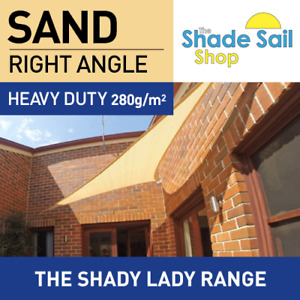 Shade Sail 2X3X3.6m Right Angle Triangle SAND 280gsm Super strong 2 X 3 X 3.6 M AU $79.00