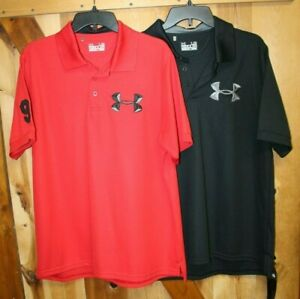 Lot of 2 ~ Under Armour ~ Polo Golf Shirts ~ Heatgear ~ 96 Logo ~ Men's Large