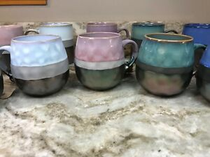 Large Coffee Mug Choose From Iridescent Teal, Tan, Or Blue. La Rochelle. New.