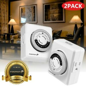 2x Indoor 24-Hour Mechanical Outlet Timer Light Plug In Switch 2 or 3 Prong ETL