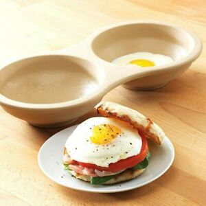 Pampered Chef Stoneware MICROWAVE EGG COOKER #1372 Double Bowl