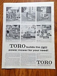 1958 Toro Lawn Mowers Power Mower Tractors Ad Builds Right Mower for Needs $2.40