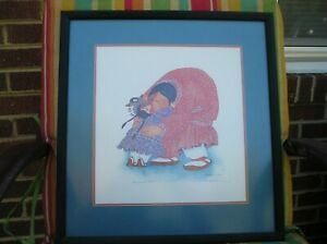 Hugs And Kisses Lithograph By Barbara Lavalee Signed Mounted and Framed.