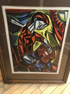 Irving Amen Signed Numbered Litho of Woodcut Guitar #2