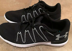 Mens Under Armour Thrill 3 Black Running Shoes Lace Up Textile US Size 12 New