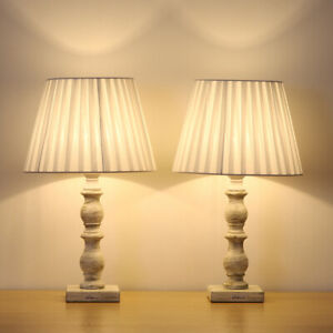 White Bedside Table Lamps Set of 2 with Fabric Shade Wooden Base for Rooms,Den