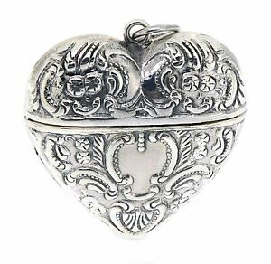 Victorian Style Sterling Silver Heart Locket Box Pendant Small $42.99