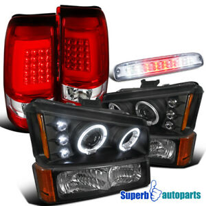 For 2003-2006 Silverado Projector Black Head Bumper+Red Tail Lights+3rd Brake