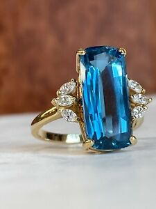 Vintage Style 14k Yellow Gold 3CT London Blue Topaz amp; Diamond Ring ANY SIZE