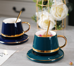 Drawing gold Porcelain Tea Cup and Saucer Coffee Cup Set With Spoon Classic lux