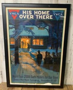 WW1 Framed Albert Herter YMCA His Home Over There Original Vintage Poster