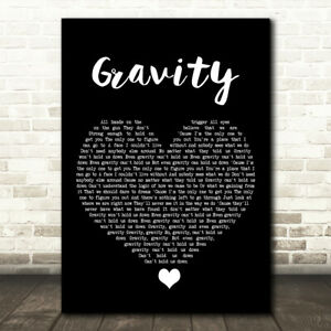 Gravity Black Heart Song Lyric Print