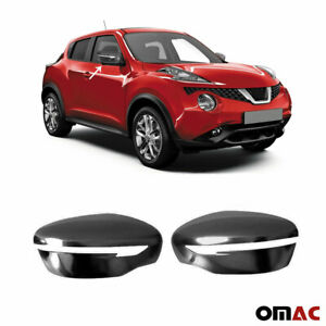 Fits Nissan Juke 2015 2020 Dark Chrome Side Mirror Cover Cap 2 Pcs