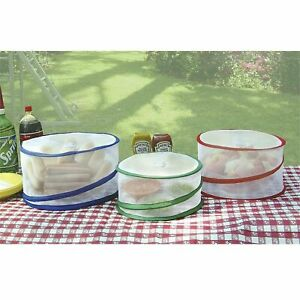 Set of 3 Pop Up Outdoor Food Covers Protect Your Picnic Bug Ant Fly Proof