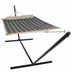 Sunnydaze 2-Person Quilted Spreader Bar Hammock and 15-Foot Stand - Mountainside
