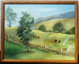 Vintage Oil Painting on Canvas Cows in Pasture Farm Landscape Artist Signed