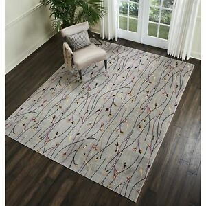 Throw Rug Modern Contemporary Grey Living Room Big Area Floor Mat Floral 8x10 $167.87