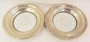 Pair of Wallace Sterling Silver and Incised glass Trays 6.75quot; Diameter