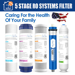 Reverse Osmosis Filter Set Replacement Cartridges 5 pcs with 75 GPD RO Membrane $34.99