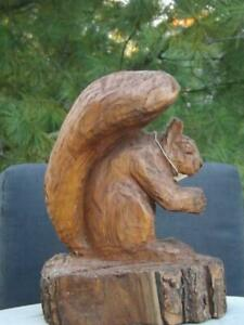 Chainsaw Wood Squirrel Sculpture Signed by Brian Ruth $119.99