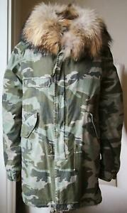 MR AND MRS ITALY RACCOON FUR LINED CAMOUFLAGE PARKA JACKET MEDIUM
