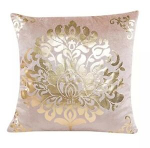 SHABBY CHIC GOLD FLORAL METALLIC  CUSHION COVER 18
