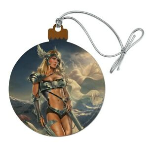 Norse Valkyrie Warrior Maiden Woman Wood Christmas Tree Holiday Ornament $5.99
