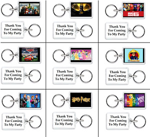 10 x FUNKY PERSONALISED KEYRINGS PARTY BAG FILLERS GIFTS THEME S