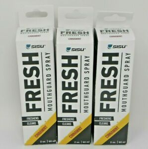 Sisu FRESH Mouthguard Cleaning Spray Lot of 3 Cinnamint Freshens Cleans 2 oz NEW