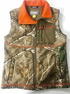 Youth Cabela's Realtree CamoOrange Fleece Lined Hunting Vest Size Medium