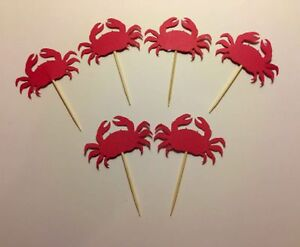 24 Crabs Toothpicks Party Food Picks Cupcake Toppers