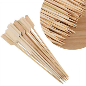 200Pcs BBQ Grill Fingre Food Bamboo Paddle Pick Skewers for Snacks Fruits Usage