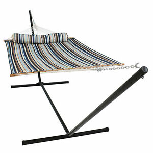 Sunnydaze 2-Person Quilted Spreader Bar Hammock and 15-Foot Stand - Ocean Isle