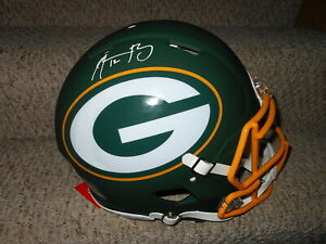AARON RODGERS AUTO SIGNED GREEN BAY PACKERS FS AMP SPEED AUTHENTIC HELMET !