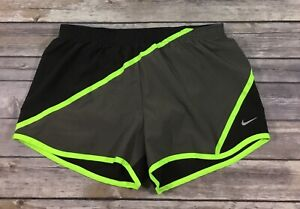 Nike Womens Twisted Tempo Running Shorts 451412 Small Brown Neon Yellow B86