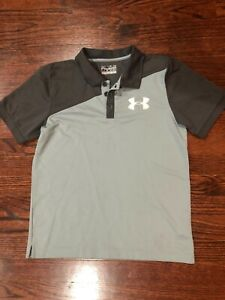 Under Armour Youth Boy's Short Sleeve Polo Shirt Gray Size L $9.99