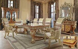 Regal Dining Table Set 8 Pcs wBuffet Carved Wood HD-8024 Homey Design Classic