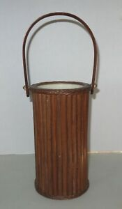 Brown Resin Knitting Needle Storage Caddy With Handle Sewing Tote Canister 10quot; $6.99