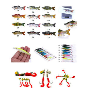 52pcs Fishing Lures Kit Soft Hard Minnow Jig Swimbait Segment w Tackle Box
