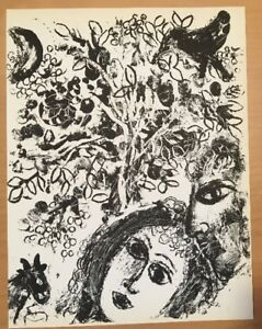 Marc Chagall Couple In Front Of Tree Original Lithograph1960 Mourlot $75.00