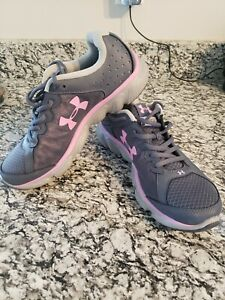 Womens Under Armour assert 6 running shoes pink and grey size 9.5 NEW