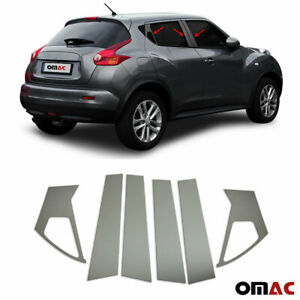 Fits Nissan Juke 2011 2017 Dark Chrome Window Plate B Pillar Trim S.Steel 6 Pcs