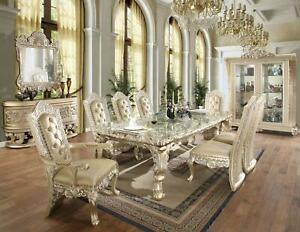 Luxury Belle Silver Dining Room Set 10P HD-8022 Homey Design Carved Wood Classic