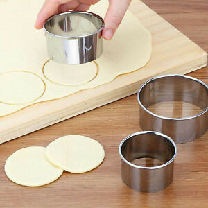 Round Cookie Biscuit Cutter Set Stainless Steel Pastry Cutter 5pc Graduated Size