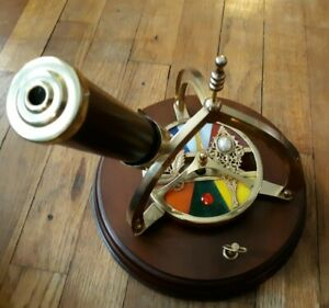 Brass Stained Glass Musical Kaleidoscope San Fransisco Music Box Company...