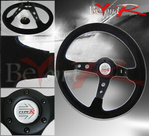 350mm Suede Deep Dish Black Leather Blue Stitches Steering Wheel R Horn Button