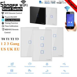 1 2 3 Gang Sonoff Smart WiFi Panel Touch Wall Light Switch T1 EU T2 US APP Home