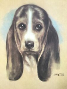 Beagle Dog Portrait by Animal Artist Silton c.1960 large vintage print $39.00